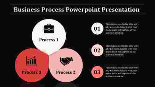 Three stages Business Process Powerpoint with Dark Background