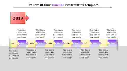 timeline presentation template - right arrow