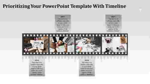 Organized powerpoint template with timeline