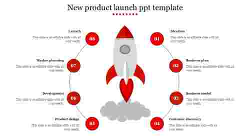New product launch PPT template - Rocket design