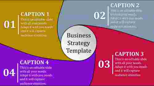 Four stage multi coloured business strategy template