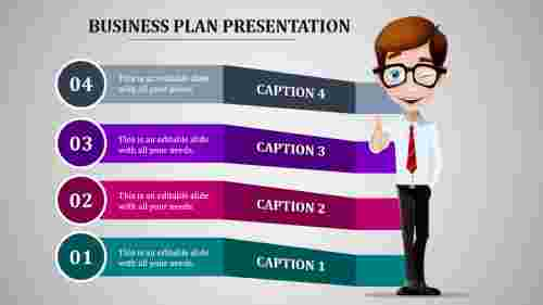 Four stage multi color business paln presentation