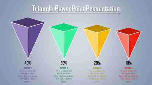 3D triangle powerpoint template-four pointed