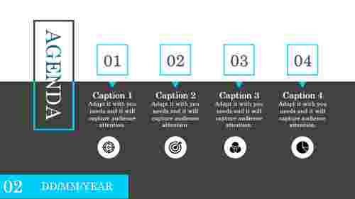 four stage green powerpointt agenda slide template