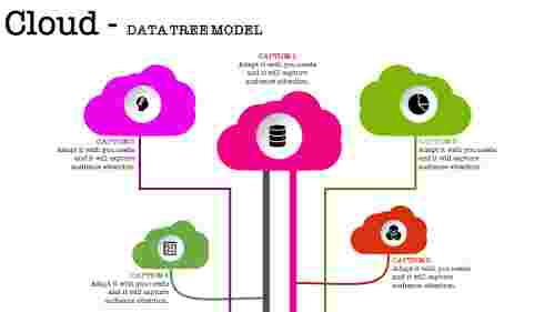 cloud networking powerpoint with five multi color cloud