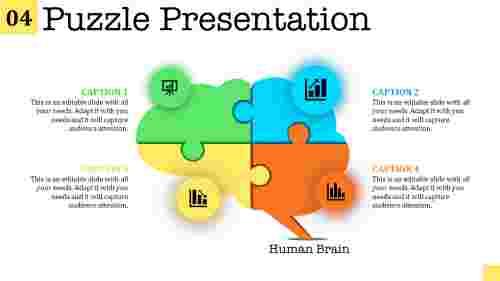 puzzle presentation template of human brain