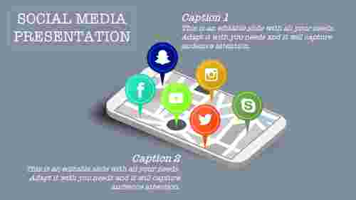social media powerpoint template with apps
