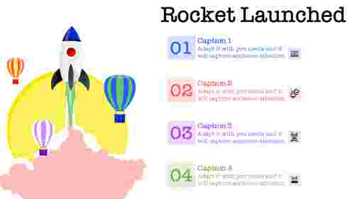 Rocket launched powerpoint template with air ballons