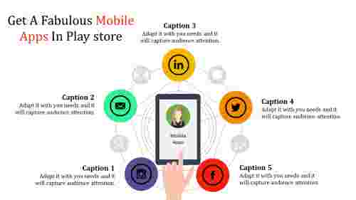 circular model mobile app powerpoint presentation