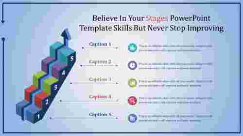 stage powerpoint template-steps with arrow