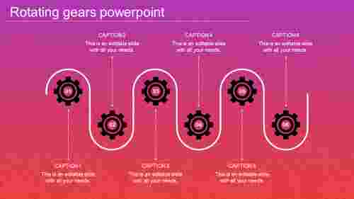 A six noded rotating gears in powerpoint