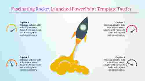 rocket launched powerpoint template - growth