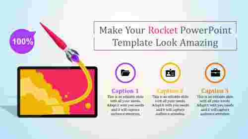 rocket powerpoint template - three stages