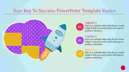 powerpoint template rocket with cloud