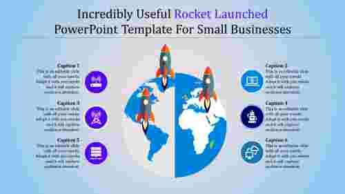 rocket launched powerpoint template -  globe model