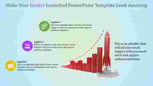 rocket launched powerpoint template - stages of launch