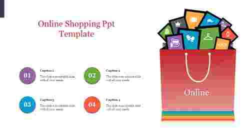 Online shopping PPT templates with shopping bag design