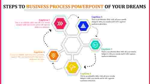 hexagonal business process powerpoint - six stage
