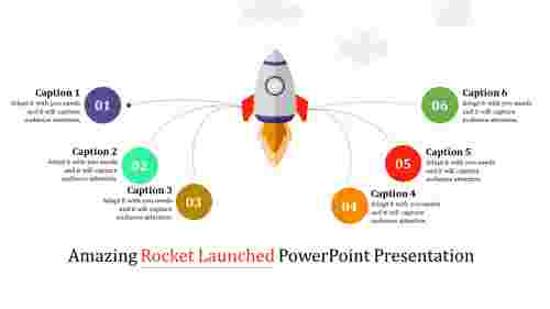 rocket launched powerpoint template - multi color
