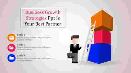 business growth strategies powerpoint with ladder