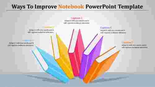 multicolornotebookpowerpointtemplate-fivebooks