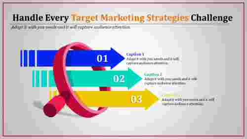 Target marketing strategies With magnifying Glass and Arrow Shaped