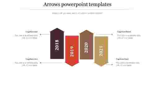 arrows powerpoint templates - four broad arrows