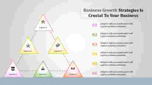 business growth strategies powerpoint - connected tringles