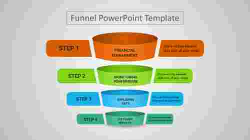 A four noded funnel PPT template