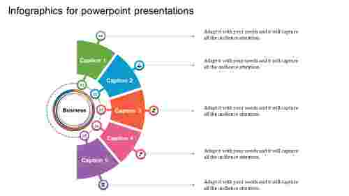 semi circle infographics for powerpoint presentation