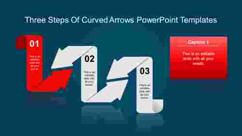 arrows powerpoint templates-Three Steps Of Curved Arrows Powerpoint Templates-red-style 1