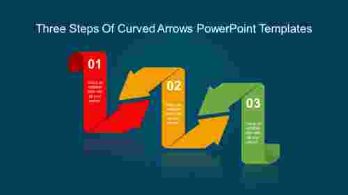 arrows powerpoint templates-Three Steps Of Curved Arrows Powerpoint Templates