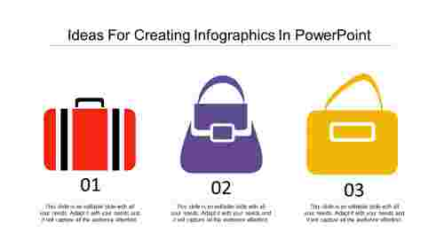 Bag shaped creating infographics in powerpoint