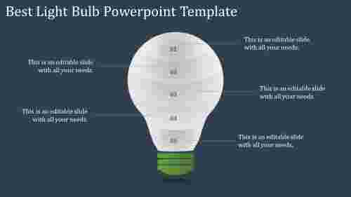 A five noded light bulb powerpoint template