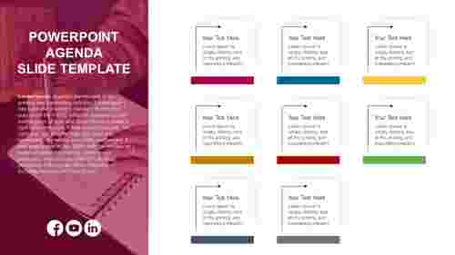 PowerPoint agenda slide template - 8 noded