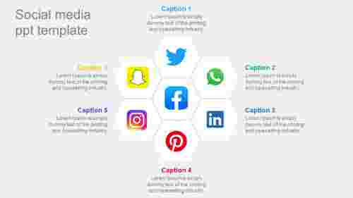 Social Media PPT Template Hexagonal Design