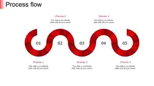 process flow ppt template-process flow-red-5