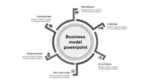 business model presentation template grey circle