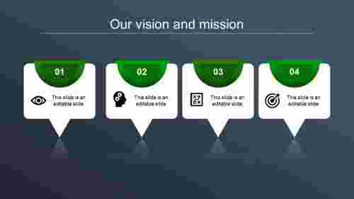 vision and mission ppt-our vision and mission-green