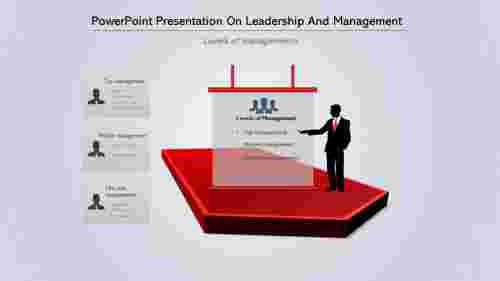 A three noded PowerPoint Presentation On Leadership And Management
