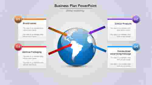 A four noded Business Plan PowerPoint