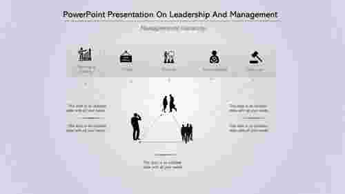 A five noded PowerPoint Presentation On Leadership And Management