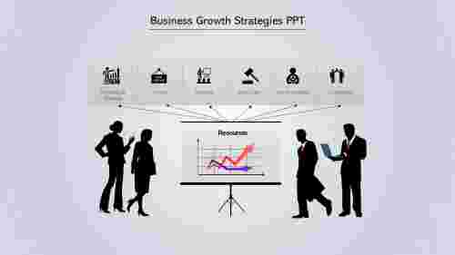A six noded Business Growth Strategies PPT