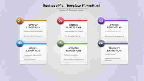 A six noded Business Plan Template PowerPoint