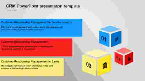 A three noded CRM PowerPoint presentation template