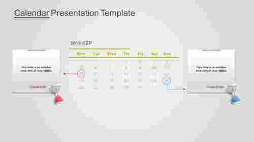 A two noded Calendar Presentation Template