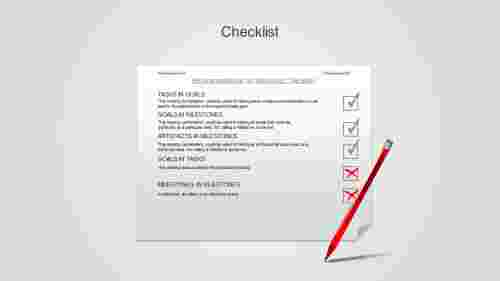 A five noded powerpoint checklist template