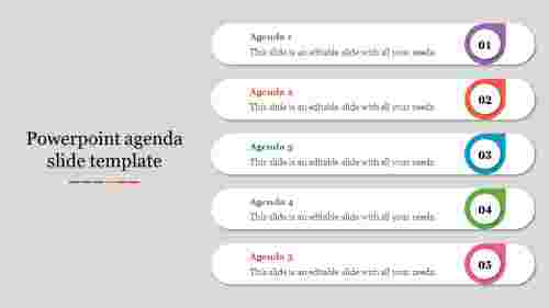 A six noded powerpoint agenda slide template
