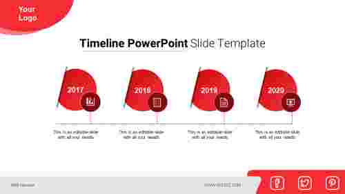 A four noded timeline powerpoint slide template