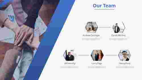 A five noded our team powerpoint template